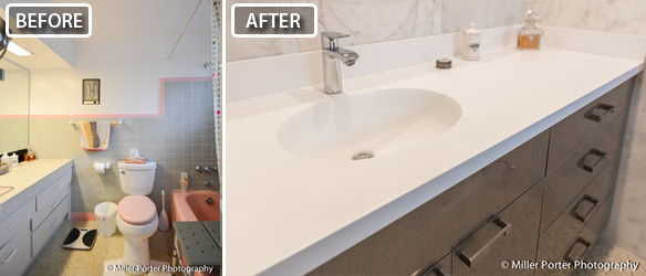 Before And After Photo Of Remodeled Bathroom