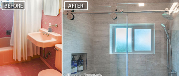 Before and After photo of bathroom remodeling project in Miami, FL.