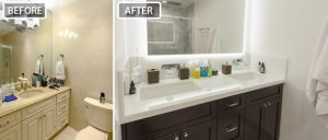 Before after picture of Miami Beach bathroom remodel