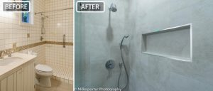 Bathroom renovation before and after photo.