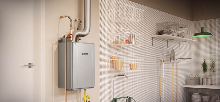 Tankless water heater cleanly installed in a Miami garage.